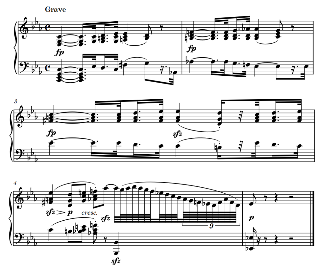Beispiel Beethoven Pathetique mit Tempoangabe