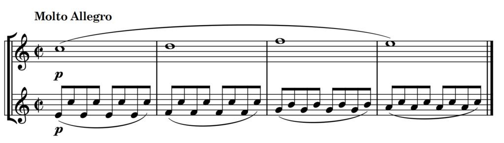 Beispiel Mozart Jupiter IV mit Tempoangabe