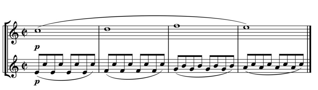 Beispiel Mozart Jupiter IV ohne Tempoangabe